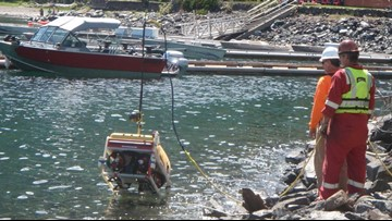 Crews removing barrels labeled with Agent Orange ingredients from Wallowa Lake