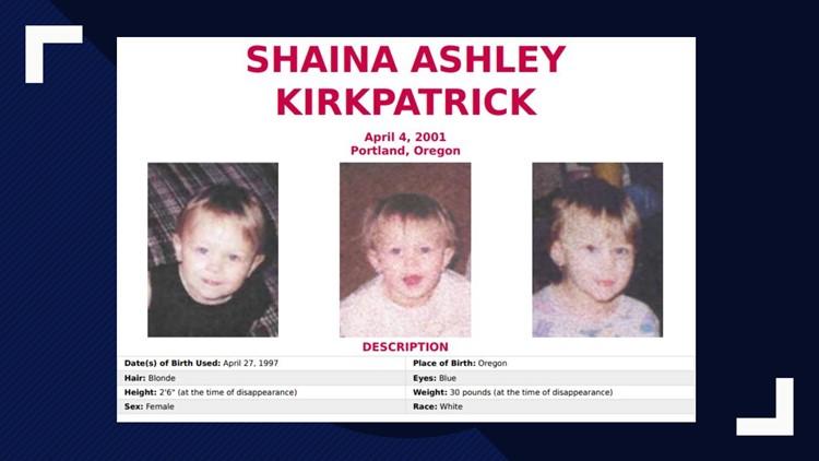 Shaina Ashley Kirkpatrick disappeared on April 4, 2001