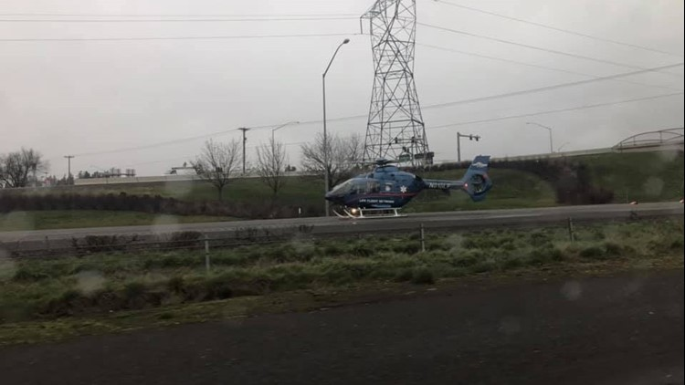 Life Flight helicopter responds to crash that closed southbound near I-5 on Feb. 15, 2019