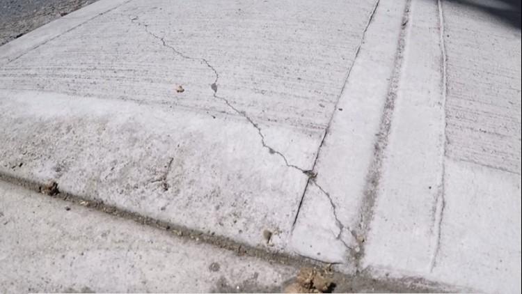 New crack in sidewalk outside Kyle Bell's home
