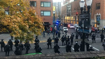 Six arrested as opposing protesters clash in downtown Portland