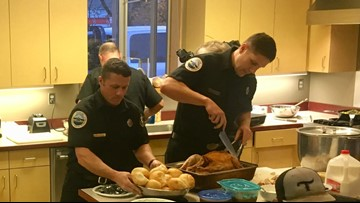 Portland firefighters return home in time for Thanksgiving