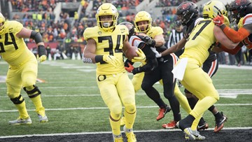 Verdell has 5 TDs in Oregon's 55-15 win over Oregon State
