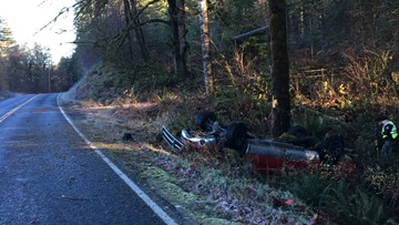 Teen driver killed in crash on icy Clark County road