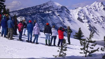 Crater Lake National Park offers ranger-guided snowshoe walks