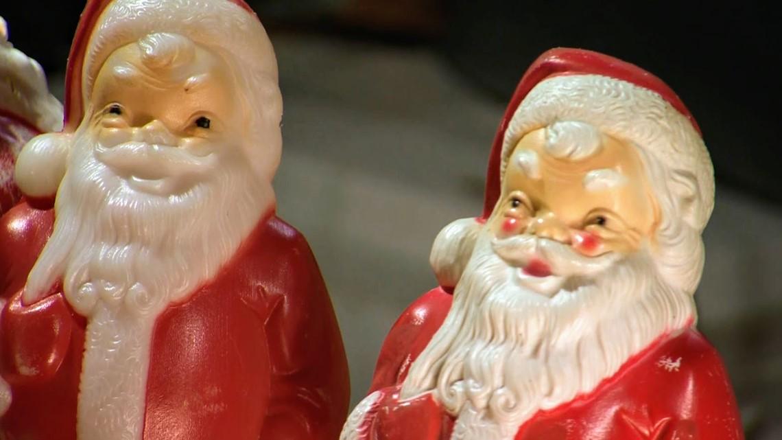 Portland artist sets up display of 350 vintage Santa Claus figurines