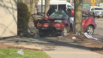 One person dies, 2 injured after driver crashes into tree along SW Naito Parkway