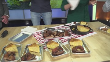The KGW Sunrise anchors sample Greg's Asian glazed and grilled ribs