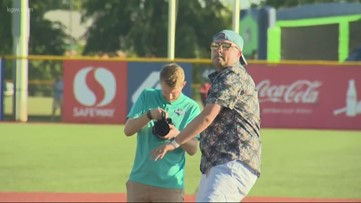 KGW Sports Anchor Orlando Sanchez tosses 1st pitch at Hops game