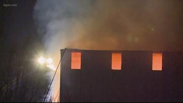 Multiple crews respond to hay fire near Aurora airport