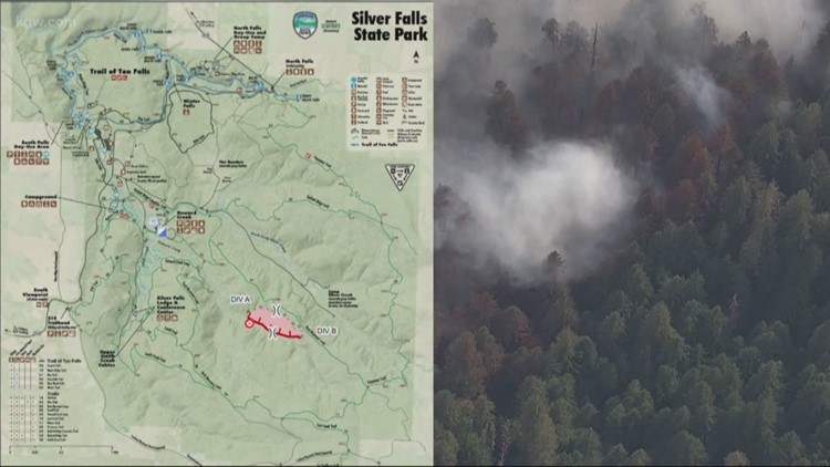 Silver Falls State Park Oregon Map.Silver Creek Fire 35 Percent Contained Kgw Com