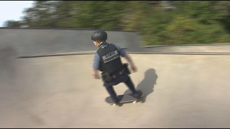 Skateboarding Oregon State Police trooper