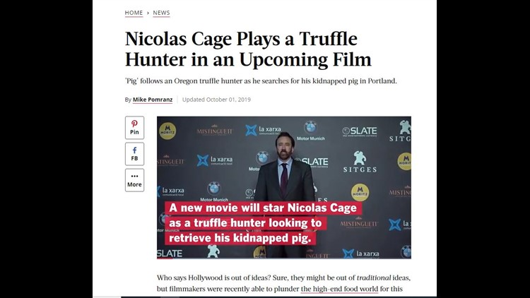 Nicolas Cage filmed a truffle hunting movie in Portland