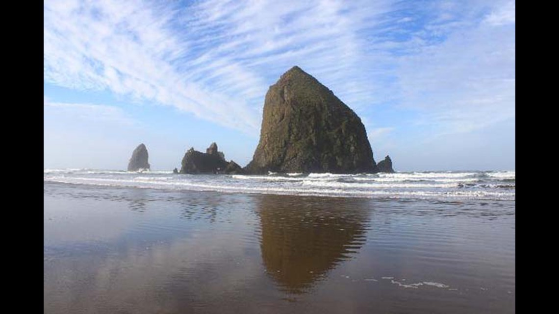 'Approximately the size of our truck': Massive chunks falling from Haystack Rock in Cannon Beach