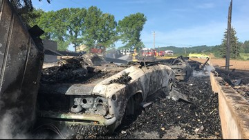 Classic cars burned up in rural Oregon barn fire