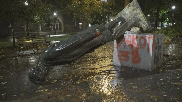 Arts board says statues toppled during Portland protests should not return to original sites