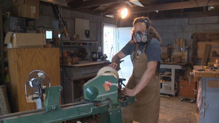 John Furniss inside his Washougal garage