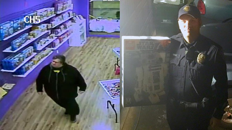 Michael Shulz (left) from surveillance footage, and the recovered R2D2 lego set he stole from Bricks & Minifigs in Beaverton (right).