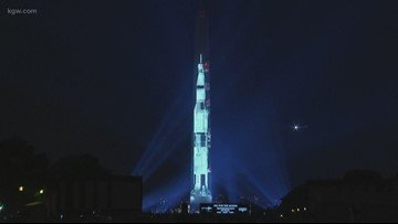 The Washington Monument in D.C. is turned into the Apollo 11 Saturn V rocket