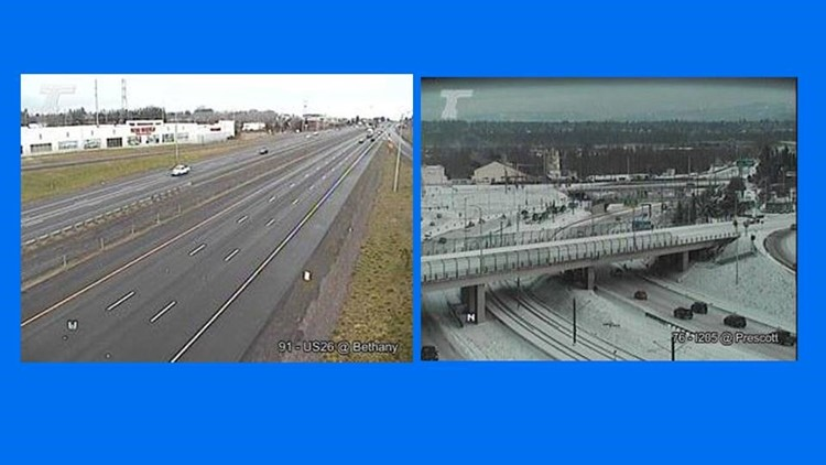 Picture on the left shows dry roads on Highway 26 near Bethany. Picture on the right shows Interstate 205 at Prescott on the east side of Portland