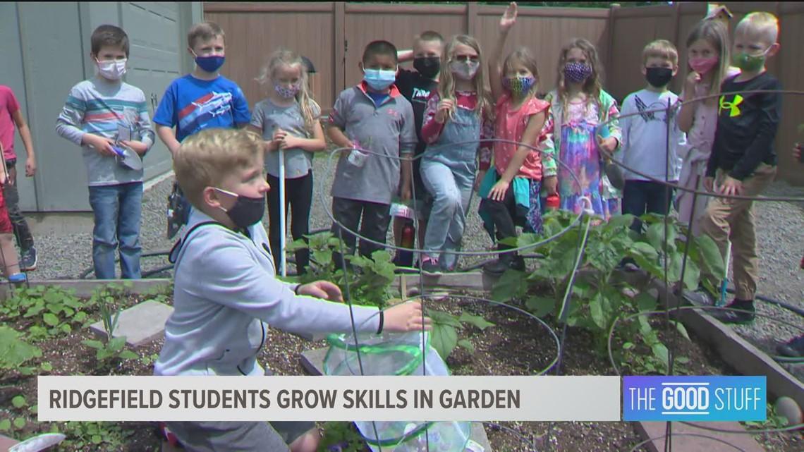 Ridgefield first grade students plant community garden