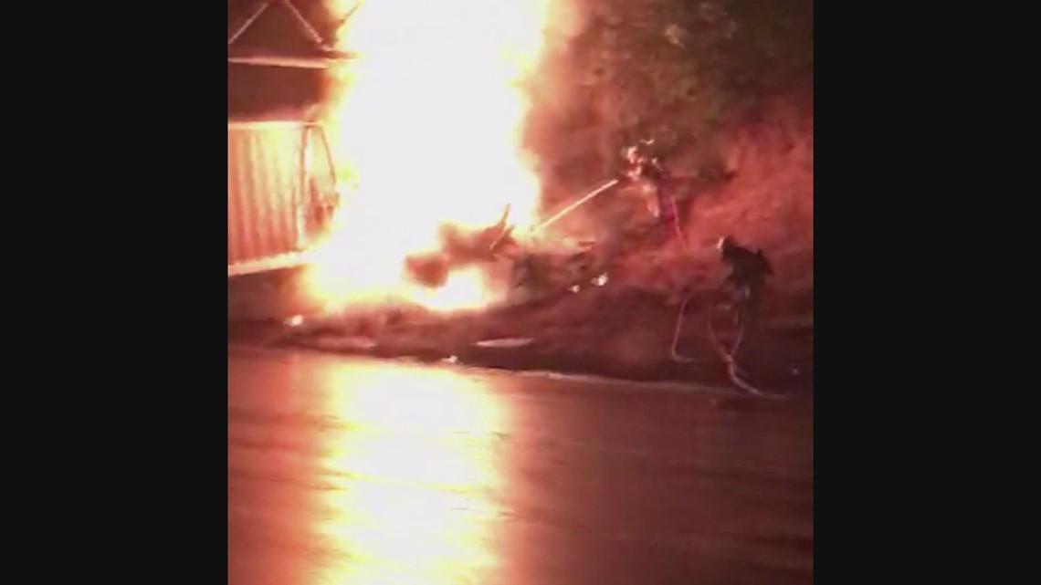 Raw video: Semi-truck catches fire in fatal crash that closed I-5