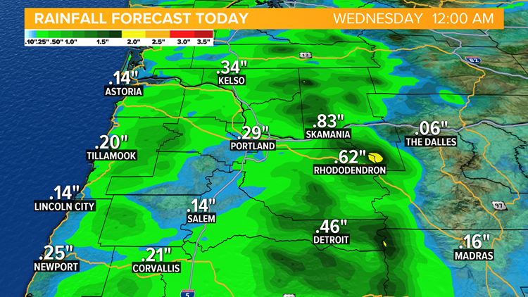 On & Off showers today, more steady rain tomorrow