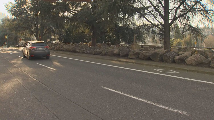 Boulders placed on Oregon Department of Transportation land