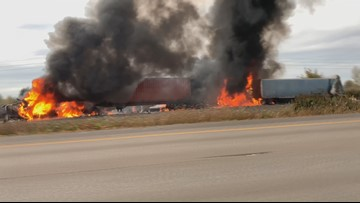 Raw video: Fiery crash closes southbound I-5 near Woodburn