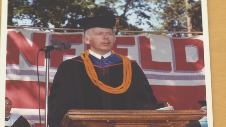 Then-President Charlie Walker speaking at the 1982 Linfield College graduation