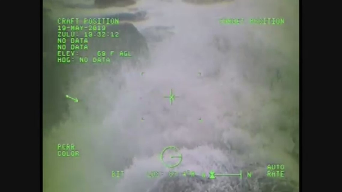 Raw video: Coast Guard rescues couple stranded on rocks at Ecola State Park