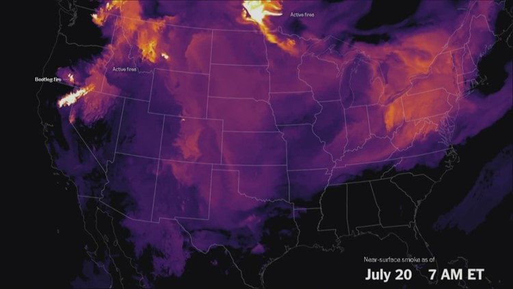 Smoke from Oregon's Bootleg Fire has reached the east coast