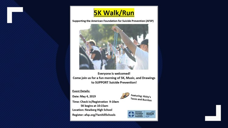 Flier for Mykayla Friday's 5K walk/run raising money for the American Foundation for Suicide Prevention