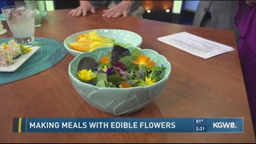 Making meals with edible flowers