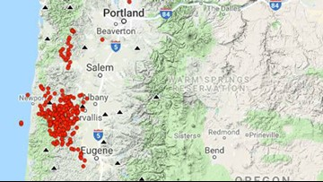 'Tremor burst' quakes from Oregon Coast Range to south of Seattle continue to strike