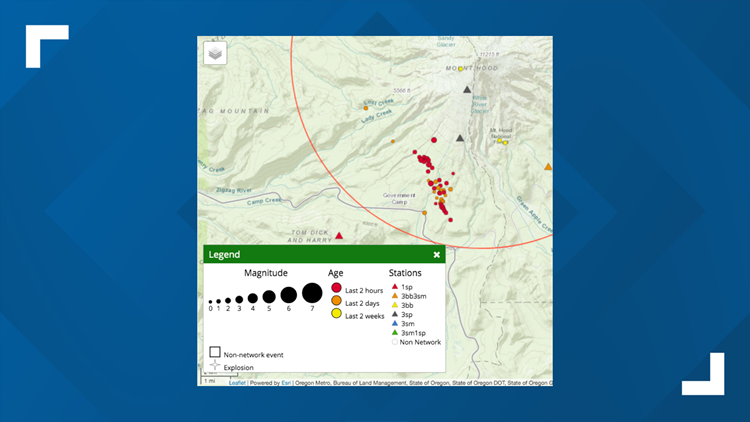 Swarm of small earthquakes near Mount Hood