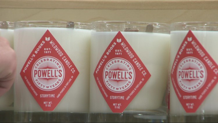 Powell's Books offering book-themed candles and beer