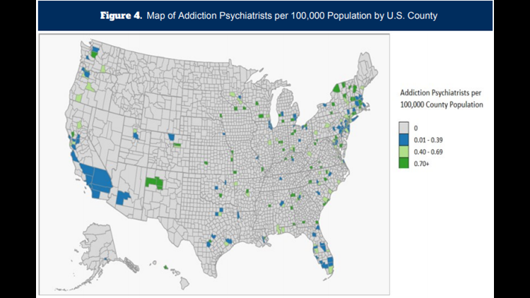Addiction psychiatrists per 100,000 population
