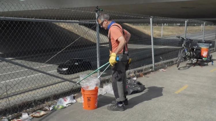 Man steps away from his IT job to clean up Portland bike paths full time