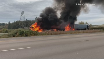 Two I-5 lanes reopen after fiery crash north of Woodburn