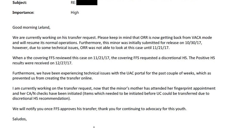 An email sent to the boy's lawyer from his case manager shows ORR issues delayed reunification for more than a month