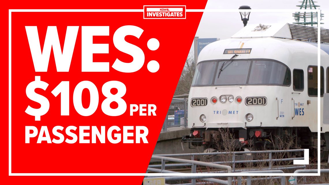 WES commuter rail costs TriMet $108 per passenger