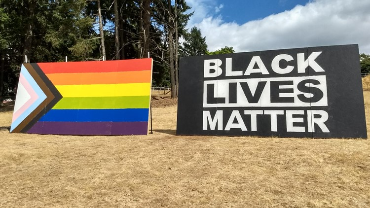 BLM flag added to Pride display in protest of Newberg school ban