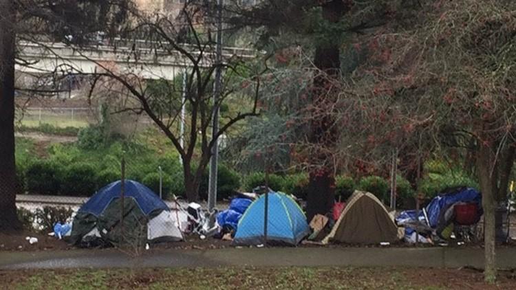 homeless camp in sw Goosehollow