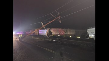 Train derails north of Salem, closes roads