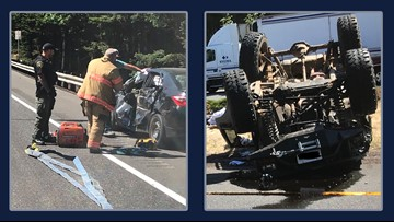 All westbound lanes of I-84 open again after rollover crash at Multnomah Falls