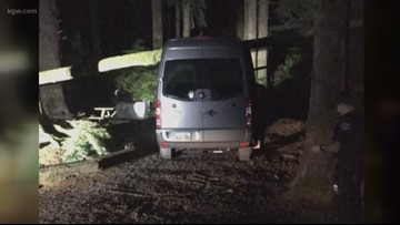 Tree crashes onto van at Cannon Beach campground