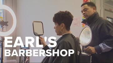 Brenda gets a cut at Earl's Barbershop