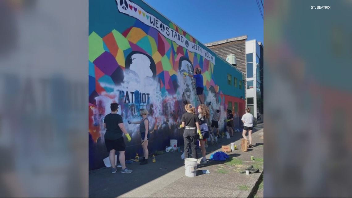 NE Portland mural honoring George Floyd, Breonna Taylor and Ahmaud Arbery defaced