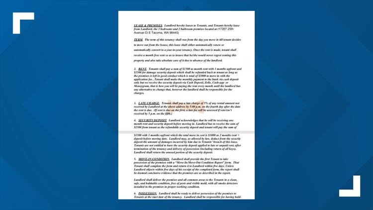 Screenshot of falsified lease agreement